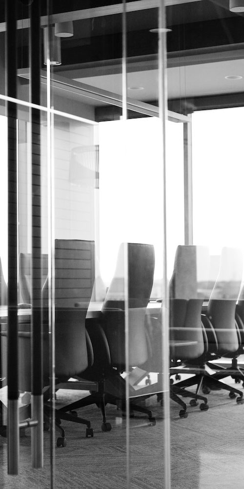 Conference room in black and white